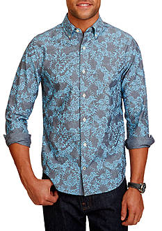 Nautica Slim Fit Printed Chambray Shirt