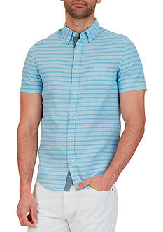 Nautica Classic Fit Striped Linen-Blend Shirt
