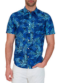 Nautica Classic Fit Printed Linen-Blend Shirt