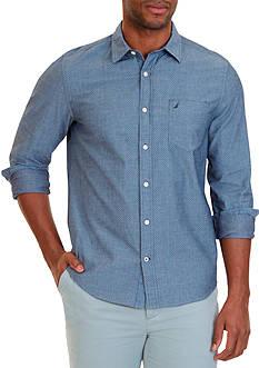 Nautica Slim Fit Printed Chambray Shirt