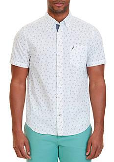 Nautica Slim Fit Anchor Print Short Sleeve Shirt