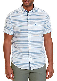Nautica Classic Fit Horizontal Stripe Linen-Blend Short Sleeve Shirt