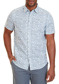 Nautica Classic Fit Floral Print Linen-Blend Short Sleeve Shirt