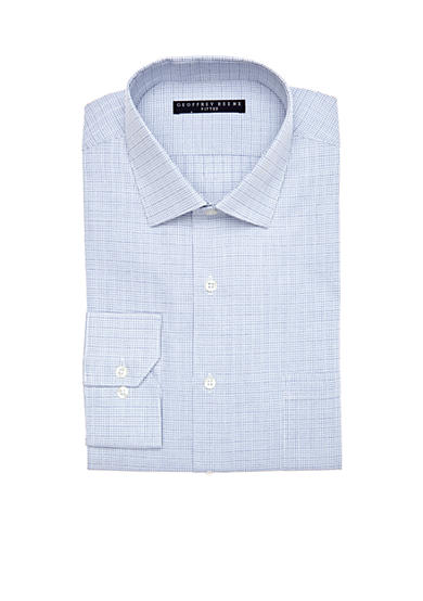 Geoffrey Beene Fitted Wrinkle-Free Check Dress Shirt