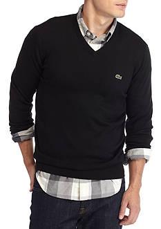 Lacoste Long Sleeve Cotton Jersey V- Neck Sweater