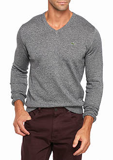 Lacoste Long Sleeve Cotton Jersey V- Neck Sweater