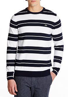 Lacoste Long Sleeve Stripe Jersey Crewneck Sweater