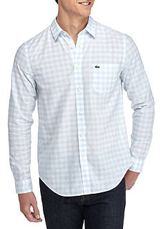 Lacoste Long Sleeve Large Gingham Check Button Down Shirt