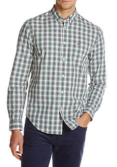 Lacoste Poplin Plaid Woven Button Down Shirt