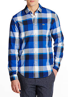 Lacoste Long Sleeve Bold Plaid Button Down Shirt