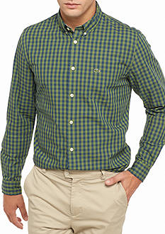 Lacoste Long Sleeve Gingham Check Button Down Shirt