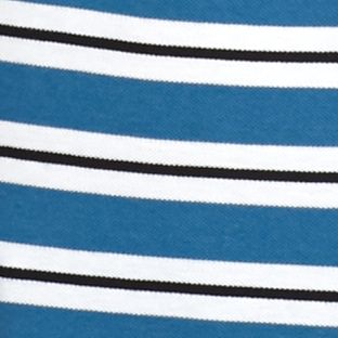 Polo Shirts for Men: Stripes: Officer/White/Black Lacoste Short Sleeve Stripe Pique Polo Shirt
