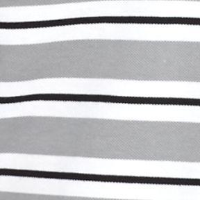 Men: Stripes Sale: Platinum/White/Black Lacoste Short Sleeve Stripe Pique Polo Shirt