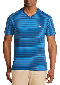 Lacoste Short Sleeve V-Neck Stripe T-Shirt
