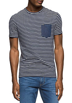 Calvin Klein Jeans Short Sleeve Striped Crew Neck Shirt With Denim Pocket