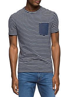 Calvin Klein Jeans Short Sleeve Striped Crew Neck Shirt With Denim Pocket