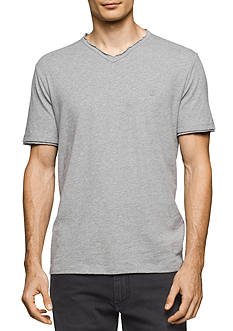 Calvin Klein Jeans Short Sleeve Slub Raw Edge V-Neck Shirt