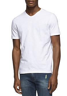 Calvin Klein Jeans Short Sleeve Slub Raw Edge V-Neck Shirt