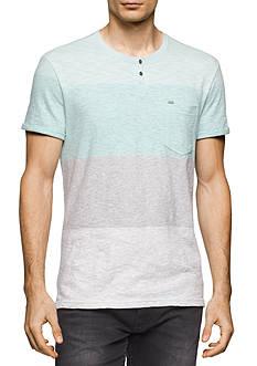 Calvin Klein Jeans Short Sleeve Wide Stripe Slit Neck Shirt