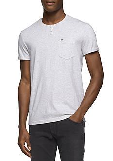 Calvin Klein Jeans Short Sleeve Heather Split Neck Shirt