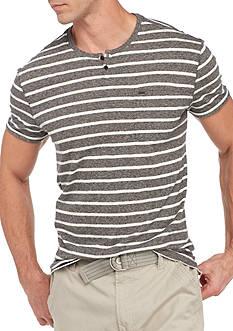 Calvin Klein Jeans Short Sleeve Stripe Split Neck Tee