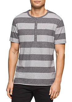 Calvin Klein Jeans Short Sleeve Heather Stripe Henley Shirt