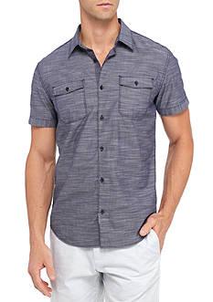 Calvin Klein Jeans Short Sleeve Crosshatch Button Down Shirt