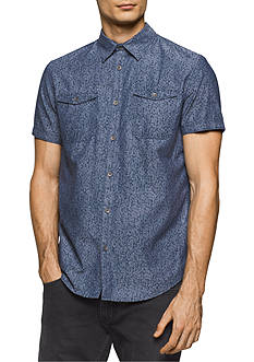 Calvin Klein Jeans Short Sleeve Floral Chambray Print Shirt