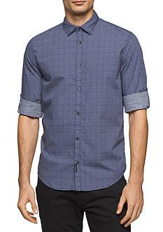 Calvin Klein Jeans Long Sleeve Scattered Diamond Print Shirt