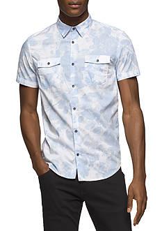 Calvin Klein Jeans Short Sleeve Floral Shadow Button Down Shirt