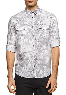 Calvin Klein Jeans Short Sleeve Watermark Print Button Down Shirt