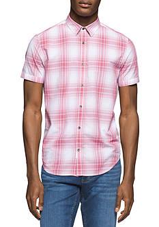 Calvin Klein Jeans Short Sleeve Plaid Button Down Shirt