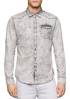 Calvin Klein Jeans Gray Wave Denim Long Sleeve Button Down Shirt