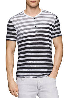 Calvin Klein Jeans Slim-Fit Faded Stripe Henley Shirt