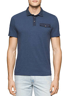 Calvin Klein Jeans Mini Print Denim Collar Polo
