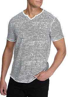 Calvin Klein Jeans Short Sleeve Split Neck Stripe Shirt