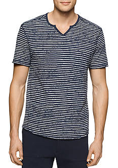 Calvin Klein Jeans Short Sleeve Split Neck Stripe Droptail Shirt
