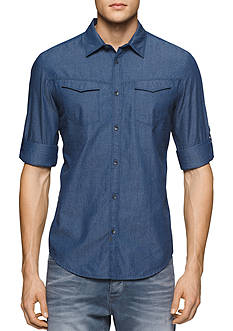 Calvin Klein Jeans Long Sleeve Printed Chambray Shirt