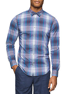 Calvin Klein Jeans Slim-Fit Roll Tab Long Sleeve Plaid Shirt