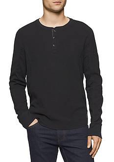 Calvin Klein Jeans Long Sleeve Mixed Media Slub Waffle Henley Top