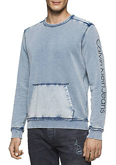 Calvin Klein Jeans Acid Washed Crew Neck Hoodie