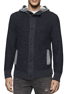 Calvin Klein Jeans Terry Cardigan with Fleece Hood