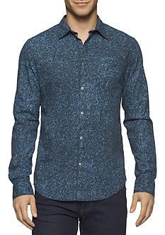Calvin Klein Jeans Mini Camo Print Long Sleeve Button Down Shirt