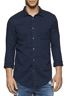 Calvin Klein Jeans Slim-Fit Indigo Weft Dobby Chambray Shirt