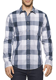 Calvin Klein Jeans Gridded Buffalo Check Long Sleeve Button Down Shirt