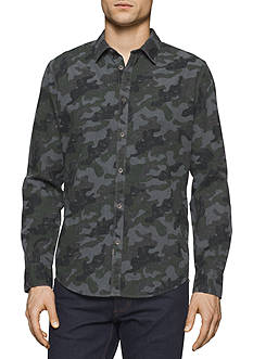 Calvin Klein Jeans Long Sleeve Mlange Camo Print Button Down Shirt