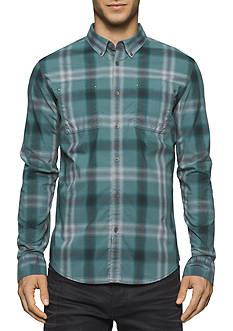 Calvin Klein Jeans Smokey Blur Check Button Down Shirt