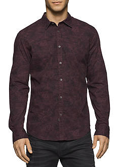 Calvin Klein Jeans Long Sleeve Tonal Botanical Camo Print Shirt