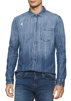 Calvin Klein Jeans Long Sleeve Destructed Denim Shirt