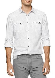 Calvin Klein Jeans Long Sleeve Retro Palm Print Button Down Shirt